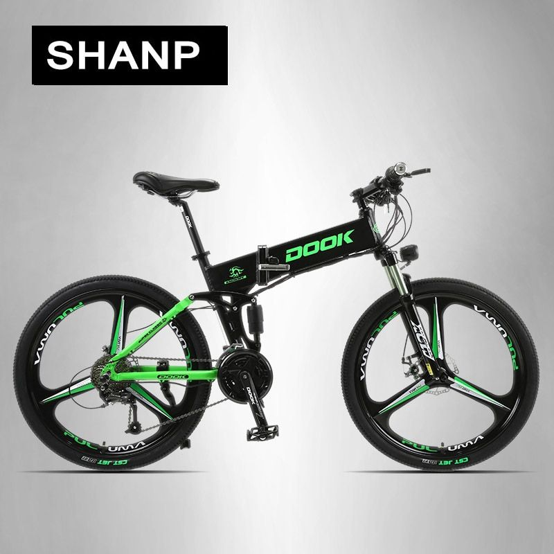 DOOK Mountain Electric Bike Full Suspension Alluminium Folding Frame 27 Speed Shimano Altus Mechanic Brake 26