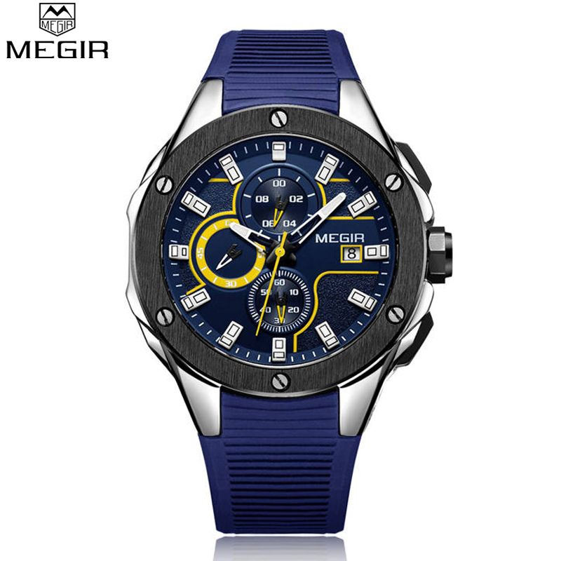 MEGIR New Brand Quartz Watches Men Top Quality Chronograph Functions Watch Waterproof Silicone Casual Clock