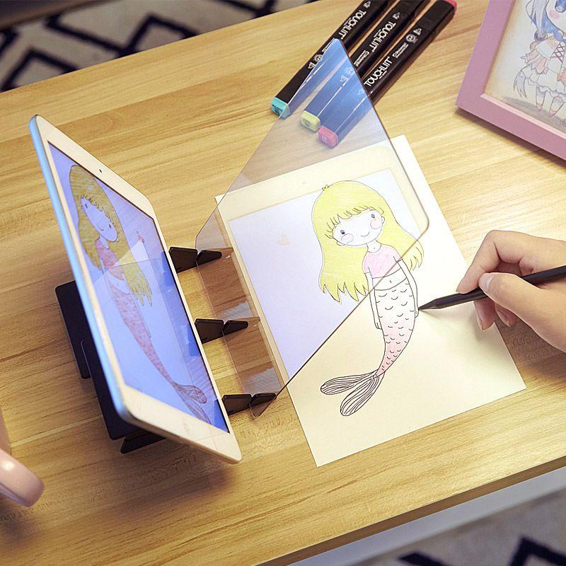 LED Projection optique planche à dessin croquis spéculaire réflexion gradation support support Linyi peinture miroir plaque copie table