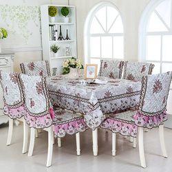 9 Pcs/set Bordir Bunga Taplak Meja dengan Kursi Persegi Panjang Meja Makan Penutup Renda Edge Pernikahan Home Taplak Meja