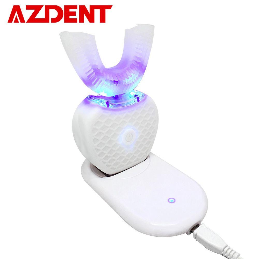 360 Degrés Intelligent Automatique Sonic Électrique Brosse À Dents U Type 4 Modes Brosse à Dents USB De Charge Dent Blanchiment Bleu Lumière