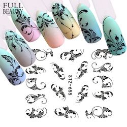 Full Beauty 1pc Black Flower Vine Nail Water Sticker Leaf Lace Design Slider Nail Art Decal Beauty Foils Decoration CHSTZ645-658