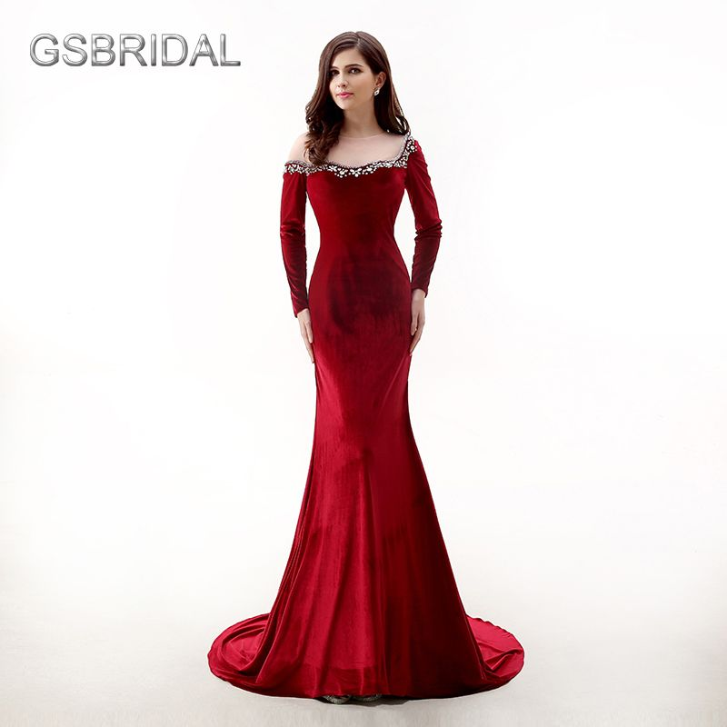 GSBRIDAL Long Sleeve Wine Red Mermaid Velvet Neck Beading Sexy Prom Dress Formal Occasion