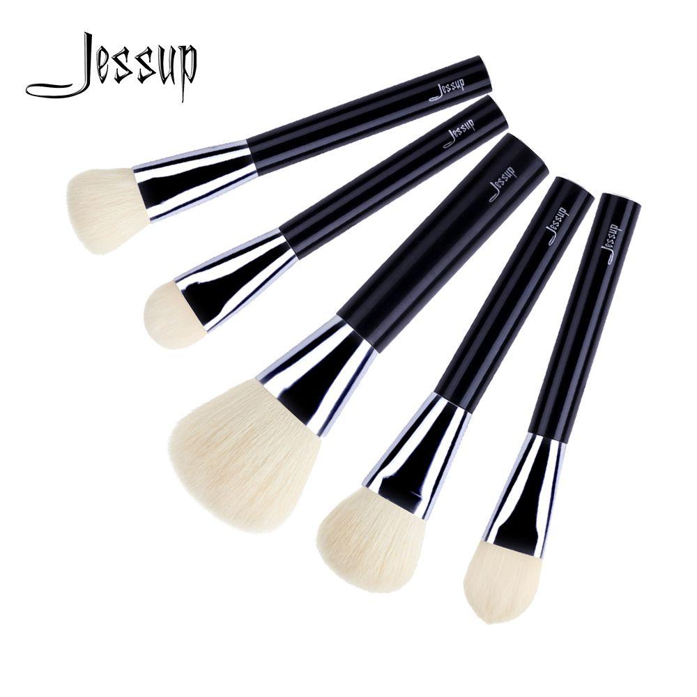 Jessup 5 pcs Noir/Argent De Chèvre Cheveux Manche En Bois Crème Fondation Joue Ombre Bronzer Maquillage Brosse Ensemble T112