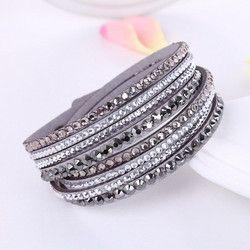 2016 Nouveau Bracelet En Cuir Strass Cristal Bracelet Wrap Multicouche Bracelets pour les femmes feminino bracelets mulher Bijoux