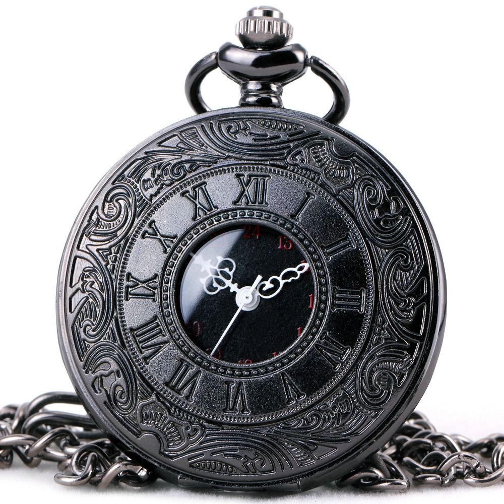 TOP LUXURY BRAND Unisex Fashion Quartz Pocket Watch Open Cover Roman Gothic Style Delicate Pattern Black Case Fob Watches
