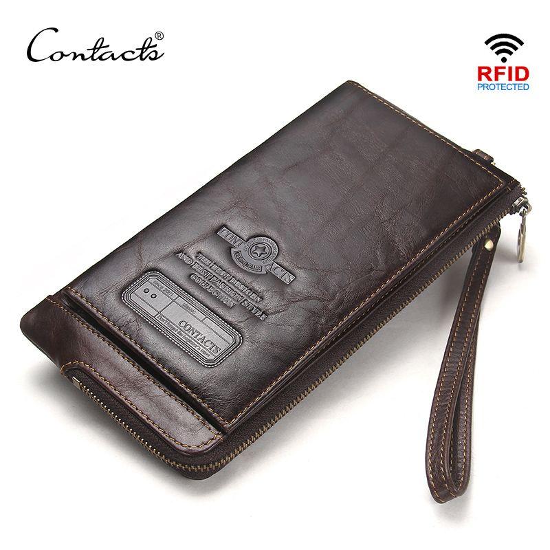 CONTACT'S bracelet sac en cuir véritable RFID téléphone portable portefeuille hommes embrayage portefeuilles hommes porte-carte de crédit homme Long sac à main Zipper