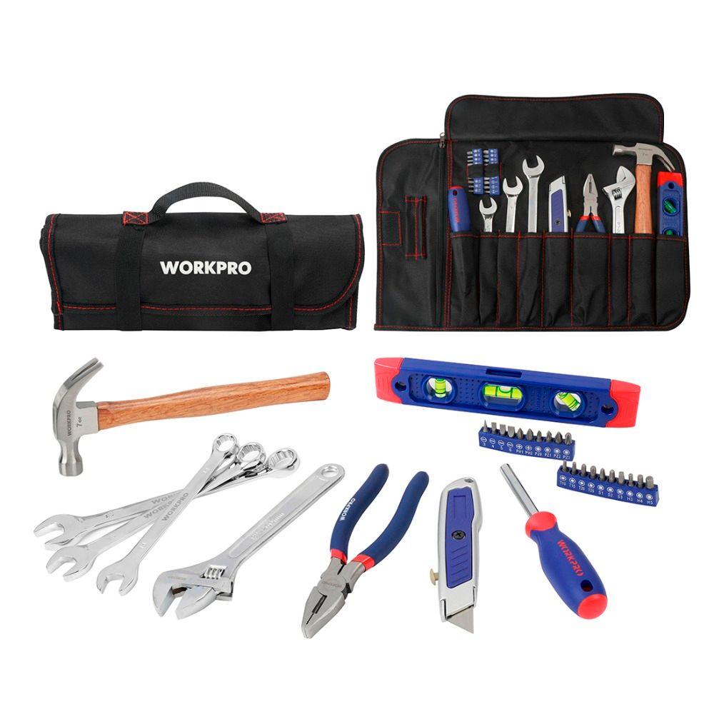 WORKPRO 29 PC accueil outil ensemble métrique outils à main pince couteau tournevis clé marteau outils métriques rouleau sac