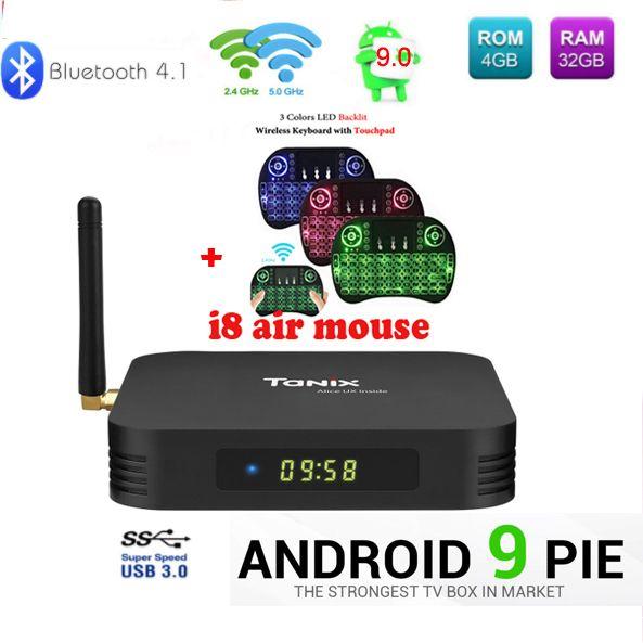 Tanix TX6 TV Box android 9 Allwinner H6 4GB DDR3 32GB EMMC 2.4GHz 5GHz WiFi BT4.1 Support 4K H.265 Bluetooth 4.0 WIFI