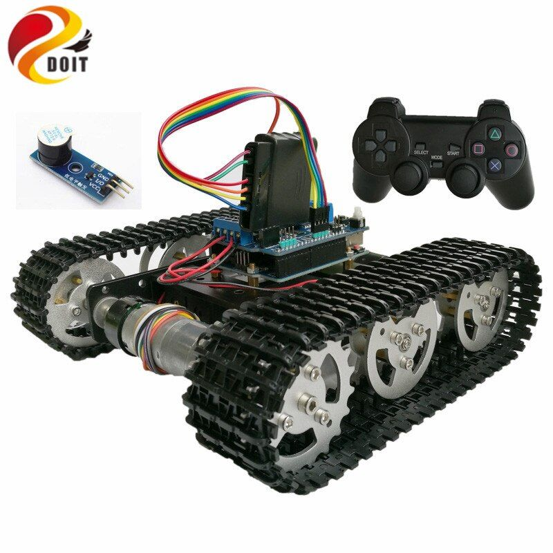 DOIT Wireless Control Smart RC Robot Kit by PS2 joystick Tank Car Chassis with Arduino Uno R3 Motor Shield DIY game playstation