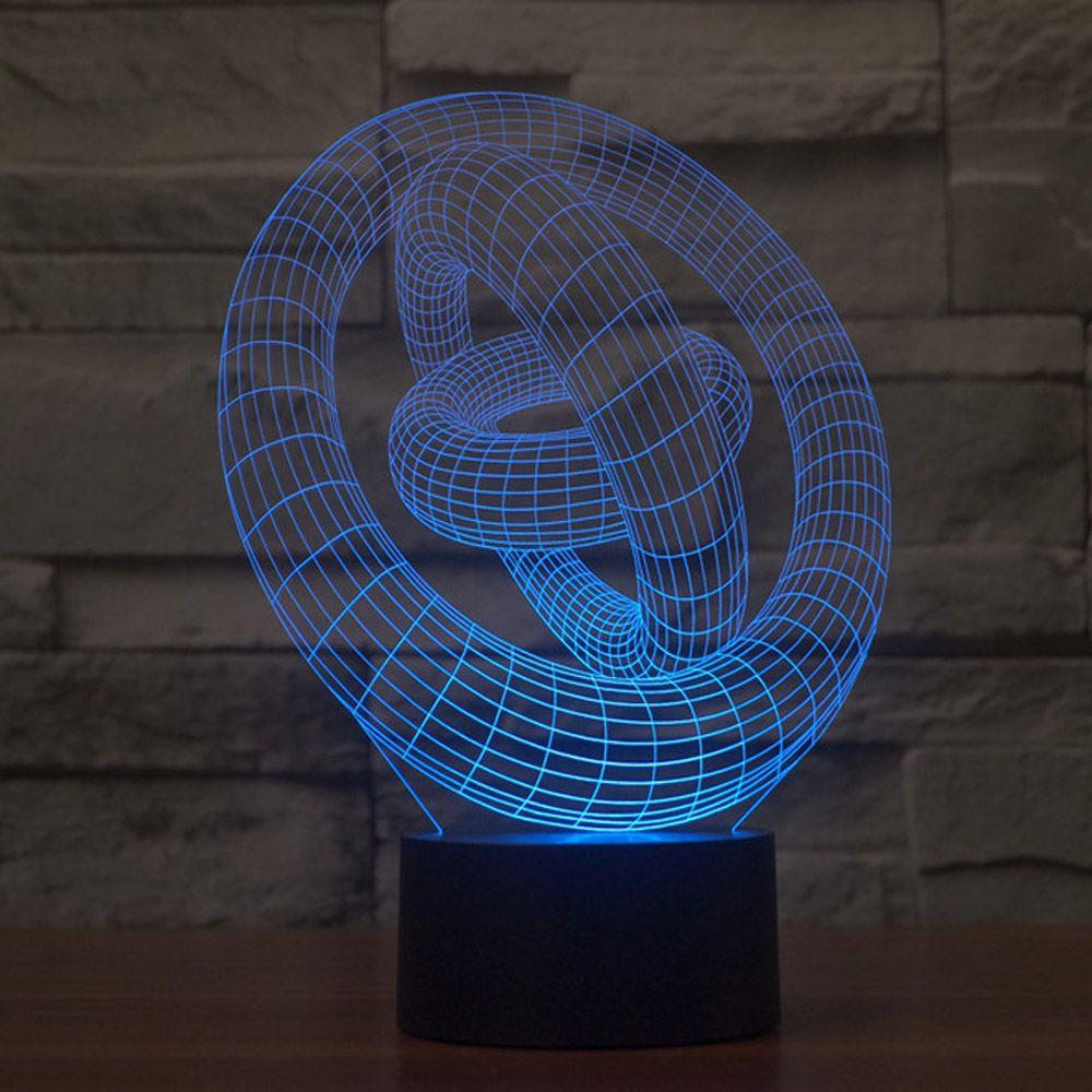 Красочные 3 круглый светодиодный свет визуальный ночник для отображения