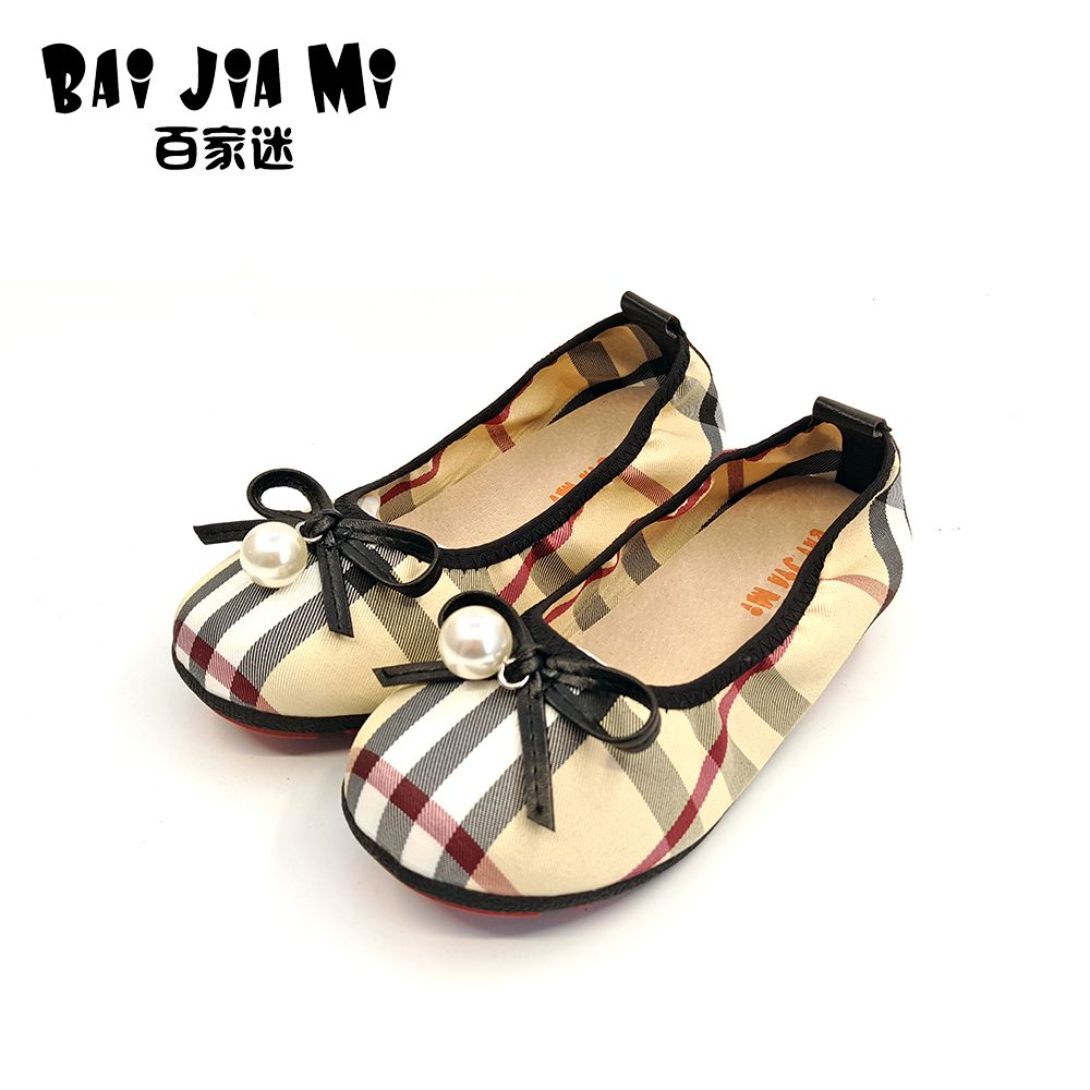 BAIJIAMI 2017 New Children's Simple British Style Princess Shoes Girls Bow Shiny Pearl Boat Shoes Kids Canvas Rubber Shoes
