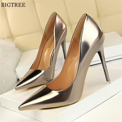 Plus Size 34-43 Patent Leather Women Office Shoes Shallow Fashion Women Pumps Pointed Toe Sexy High Heel Dress Party Shoes Woman