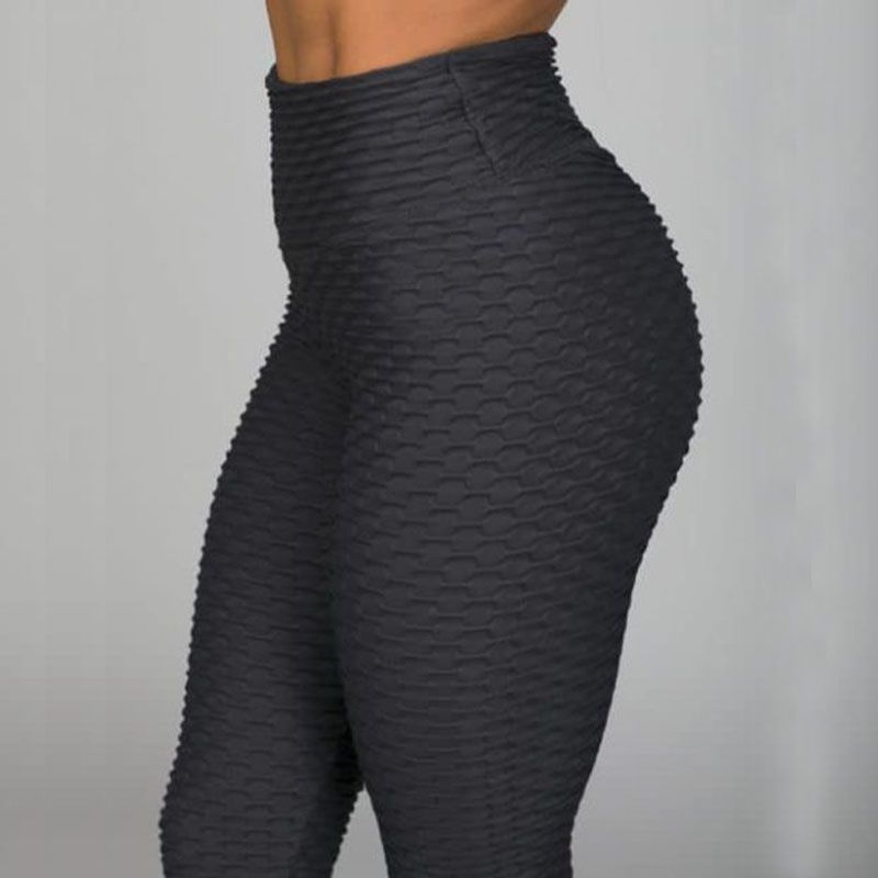 New Fitness Anti Cellulite Texture Leggings Women Pants Solid High Waist Workout Wrinkle Leggings Pants
