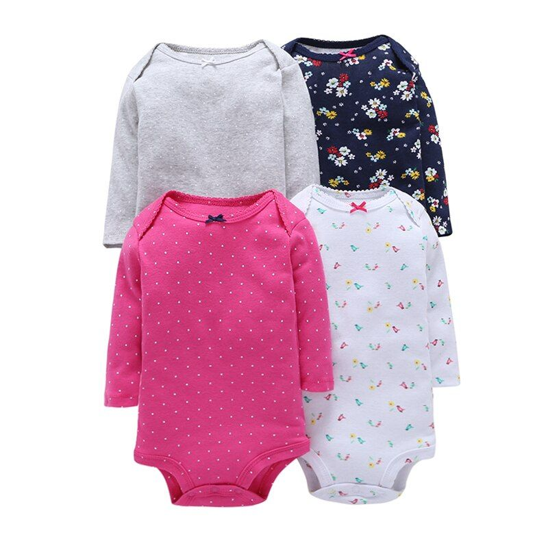 4Pcs Summer Baby Girl Bodysuits Set Rose Red Dot Long Sleeves Flowers Cotton Baby Bodysuits Baby Girl Clothes Sets MKBCROBG08064