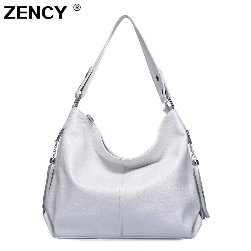 ZENCY 100% Genuine Leather Women Handbag First Layer Cow Leather Long Handle Messenger Shoulder Bag Satchel White Silver Bags