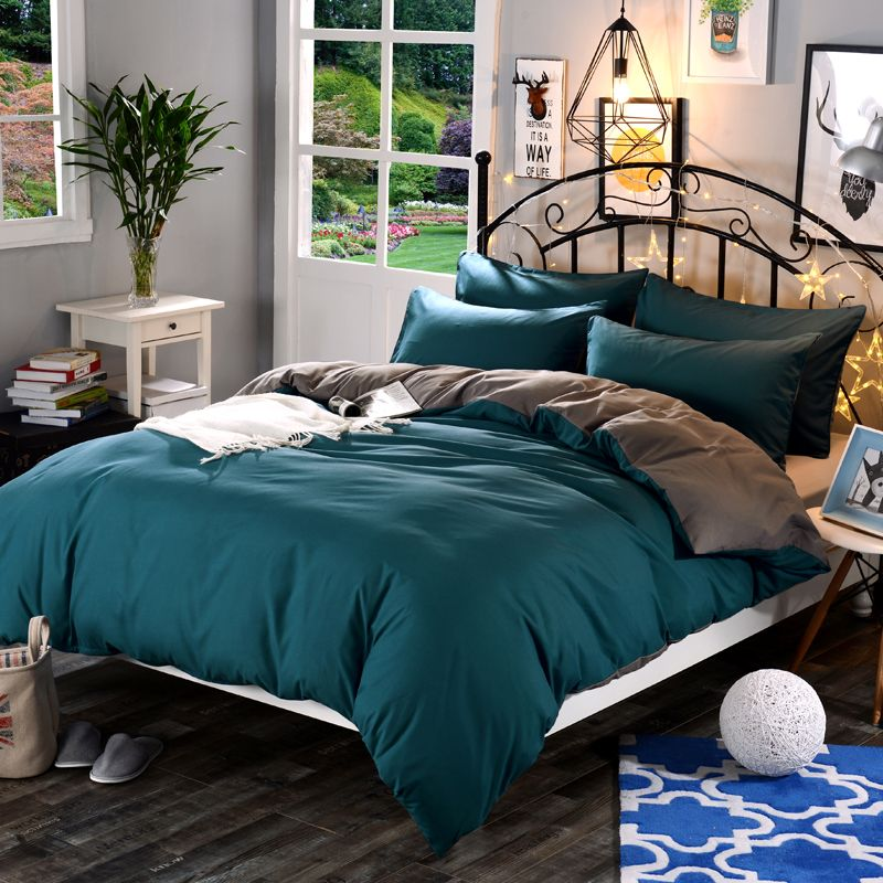 <font><b>1pcs</b></font> Cotton Blend Duvet Cover Solid Color Reactive Printing Comforter Cover Twin Full Queen King Size