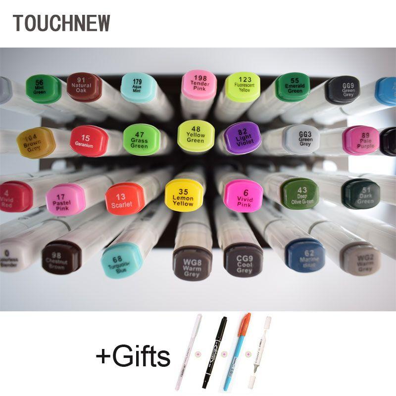 Touchnew 80 Цвет эскиз Фломастеры для рисования ручка Dual Head Книги по искусству Маркер установлен на спиртовой Copic маркеров
