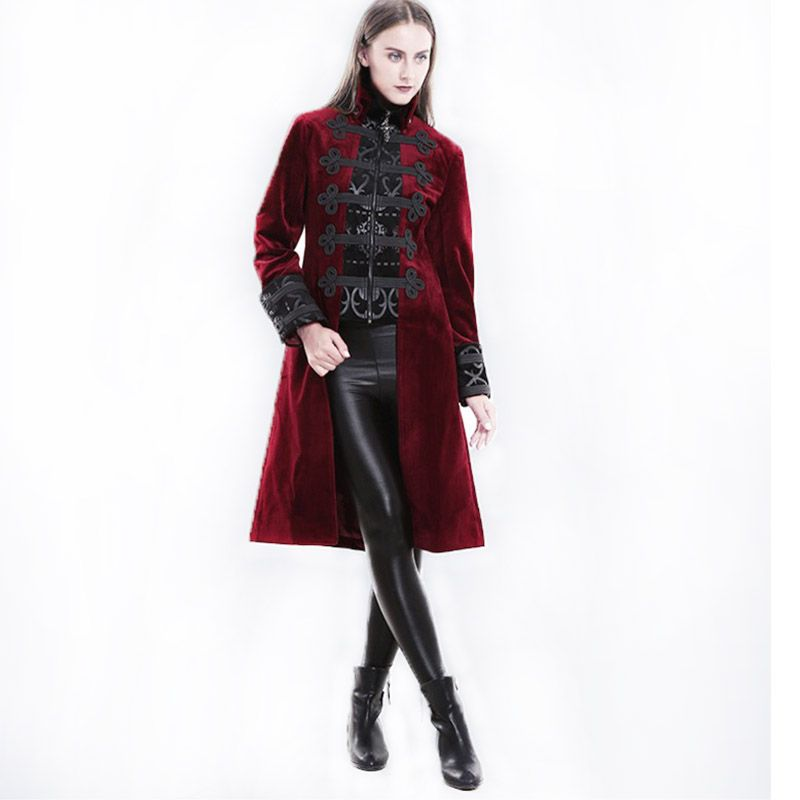 Gothic Winter Long Sleeve Wool Coat Female Winered Slim Fit Jackets Steampunk Winter Windbreakerz Womens Winter Coats Jacket