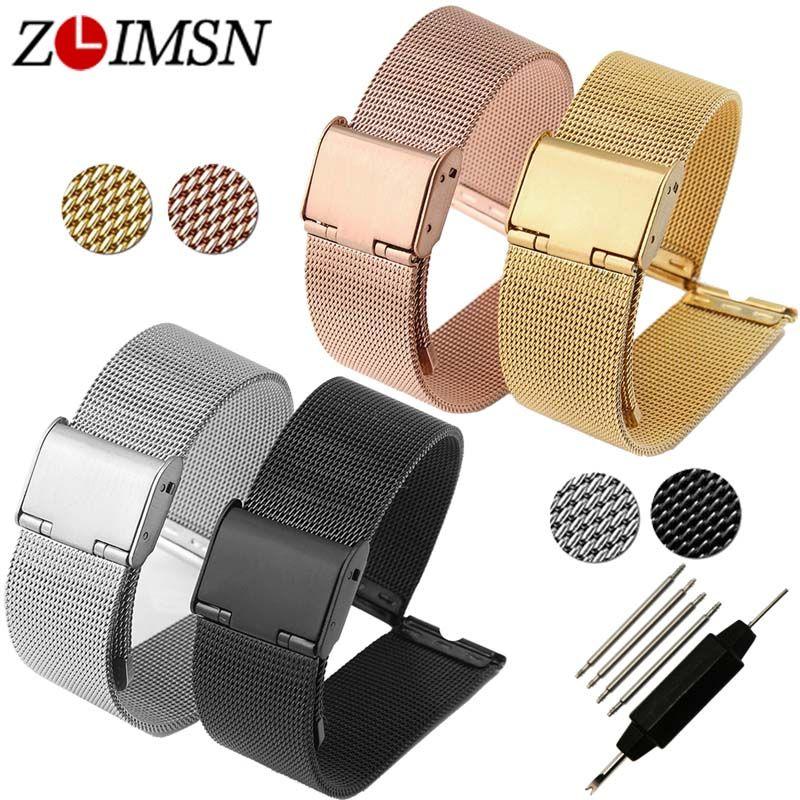 ZLIMSN 12 14 16 18 20 22 24mm bracelet de montre en acier inoxydable bracelet de montre remplacement argent noir Rose or Bracelets Relojes