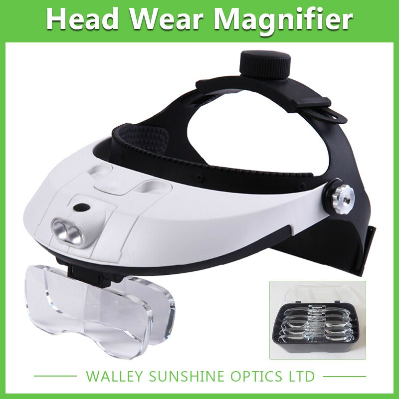 2 LED Light Magnifier Head Wearing Headset Dental Surgical Magnifying Glasses Helmet Magnifying ABS Plastic Magnifier