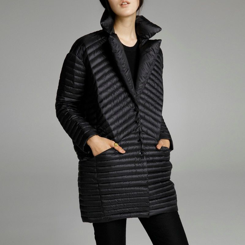 2017 spring thin down coat medium-long down female patchwork color block thermal new arrival women's down jackets for women
