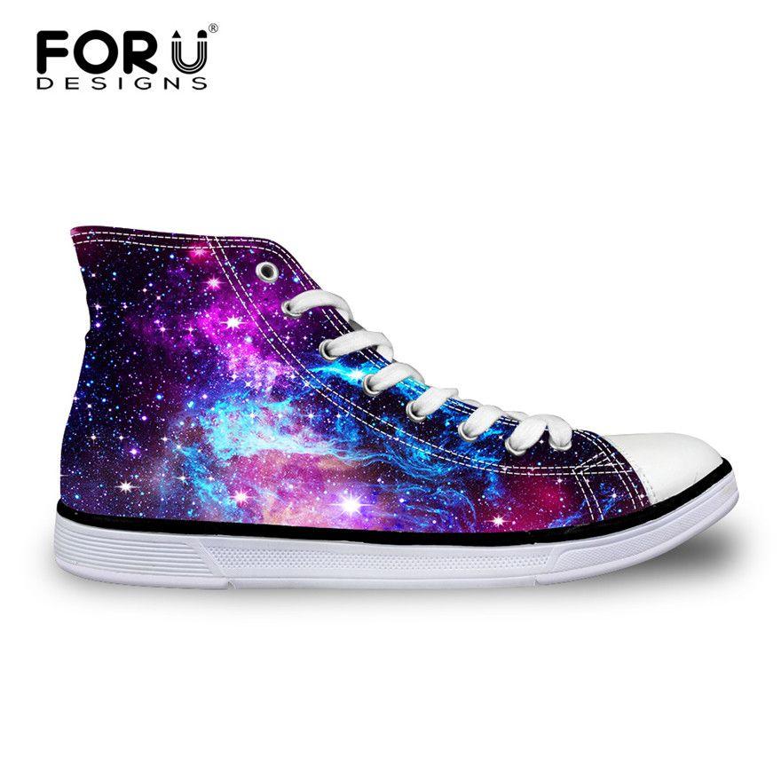 Forudesigns/модные женские туфли Повседневное Galaxy Обувь вулканизированной высокого верха и низкая парусиновая обувь, Женская обувь на плоской п...