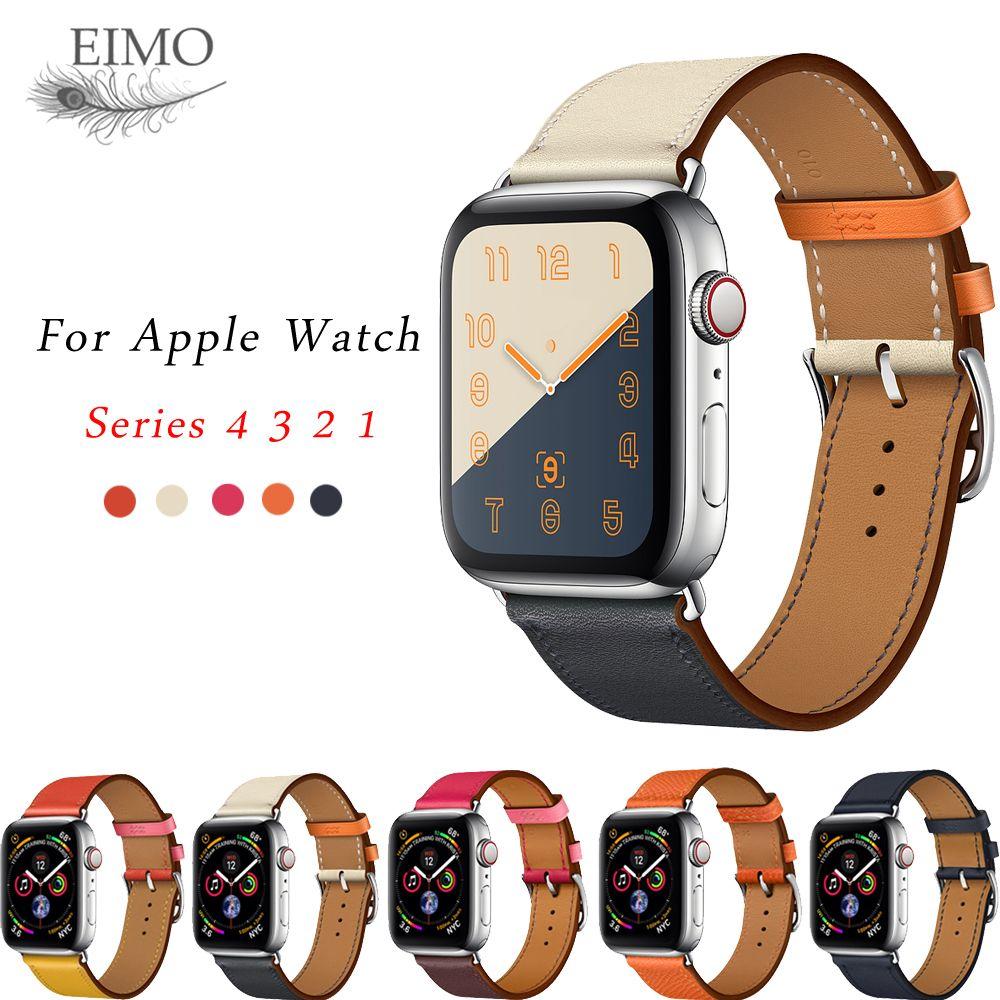 Bracelet tour unique en cuir pour Apple bracelet de montre 4 44mm 40mm bracelet bracelet bracelet Iwatch série 3/2/1 correa 42mm 38mm poignet ceinture