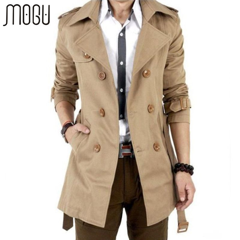 MOGU Trench Coat Men Autumn Spring Double Breasted Men Outerwear Casual Coat Men's Jackets Windbreaker Mens Trench Coat