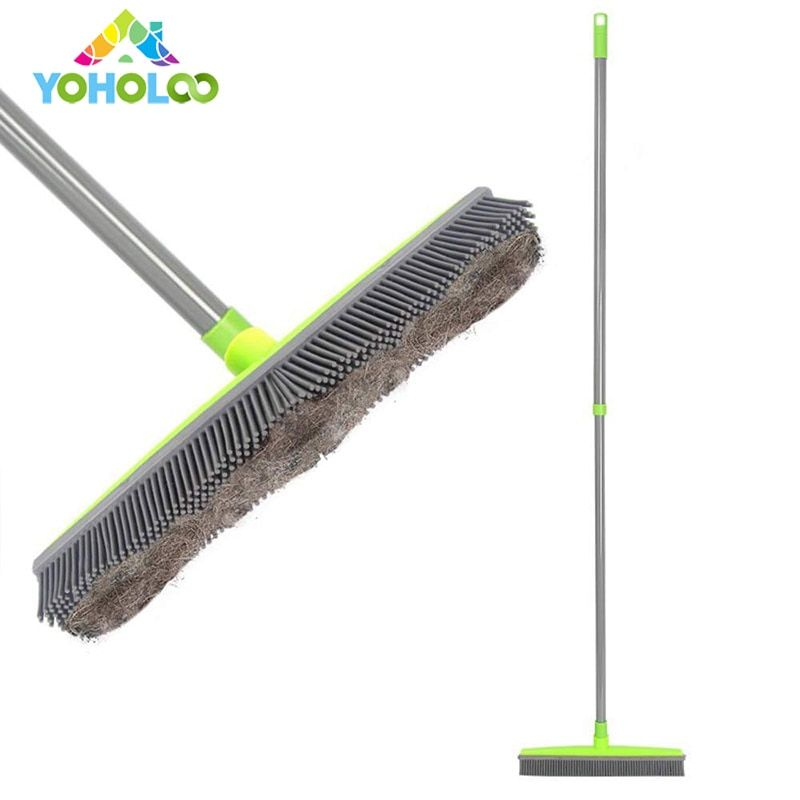 Rubber Broom Windows Clean Squeegee Long Push Bristle Sweeper Scratch Free Bristle Broom With Squeegee for Pet Hair Rubber Broom