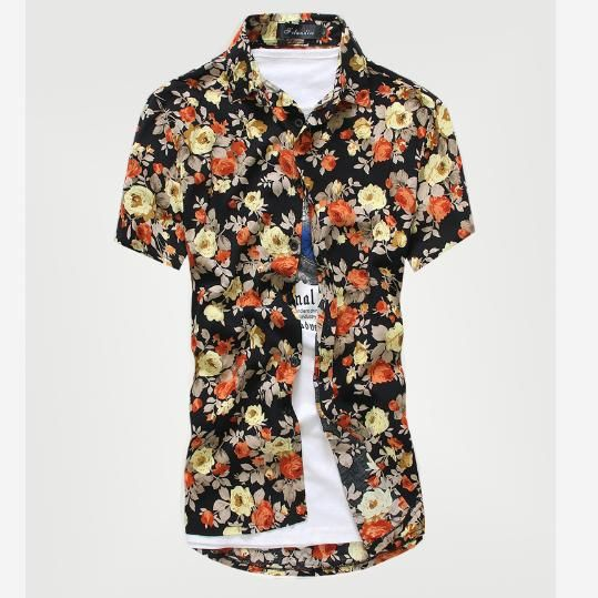 2016 hommes mode loisirs coton cassé belle décontracté à manches courtes chemises/mâle revers loisirs coton imprimé floral chemises