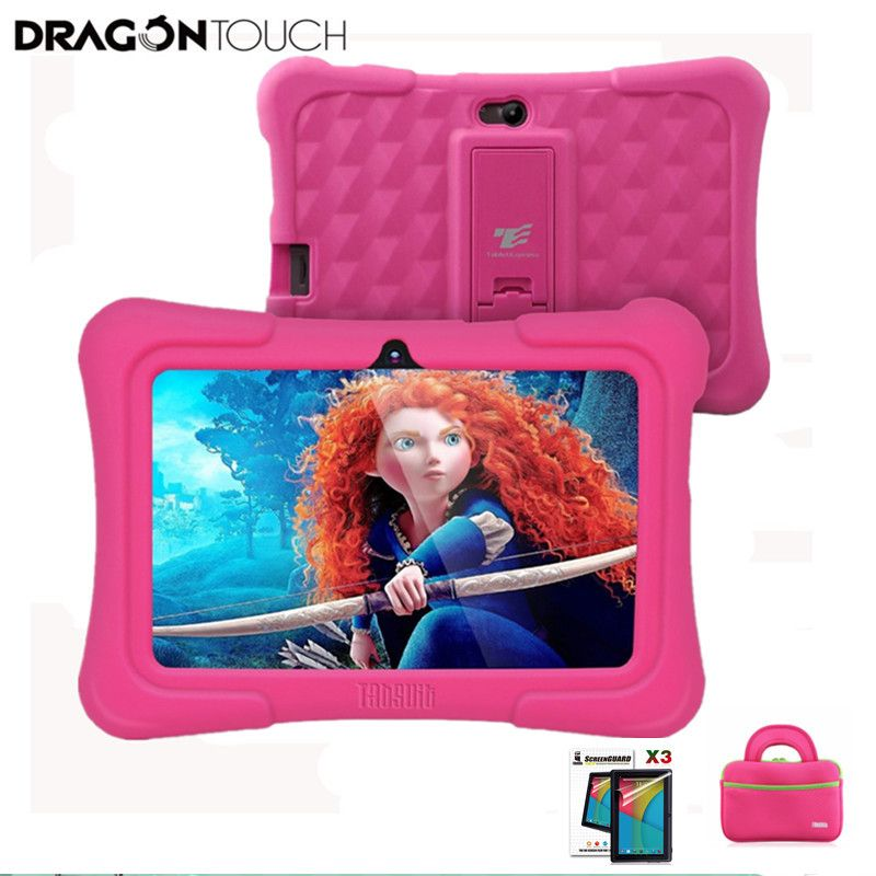 Dragon Touch Y88X Plus Kids Tablet US Plug for Children Quad Core Android 5.1 + Tablet bag+ Screen Protector gifts for Child