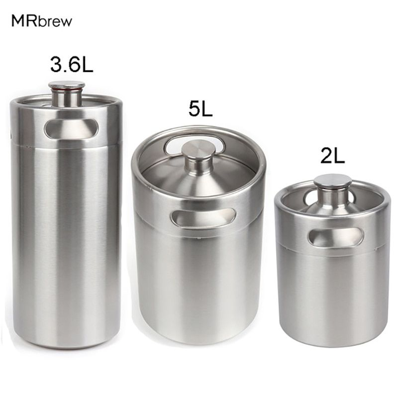 Newest 304 Stainless Steel 5L/3.6L/2L Mini Keg Beer Growler Portable Beer Bottle Home Beer Making Bar Accessories Tool