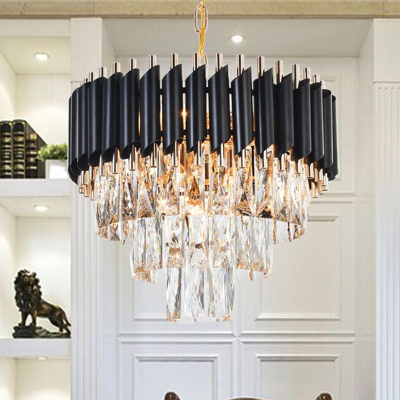 Gute Qualität K9 Kristall Kronleuchter Suspension Beleuchtung Leuchten Hängen Lustre für Restaurant Kristall Amerikanischen Stil Lampe