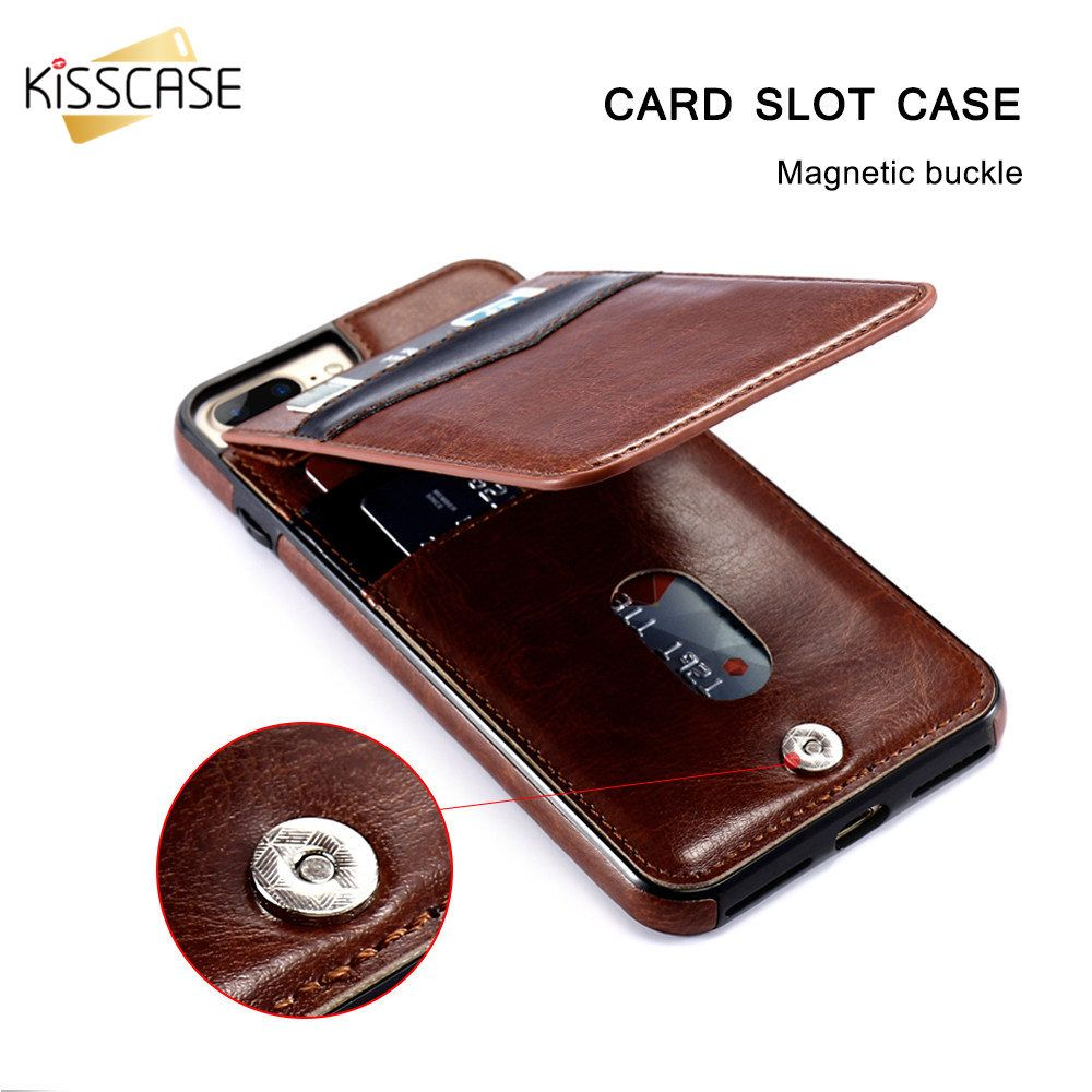 KISSCASE Vintage PU Leather Case For iPhone 6 6s X 7 8 Plus XS Max Cover For Samsung S8 S6 S7 Edge Card Slot Holder Wallet Funda