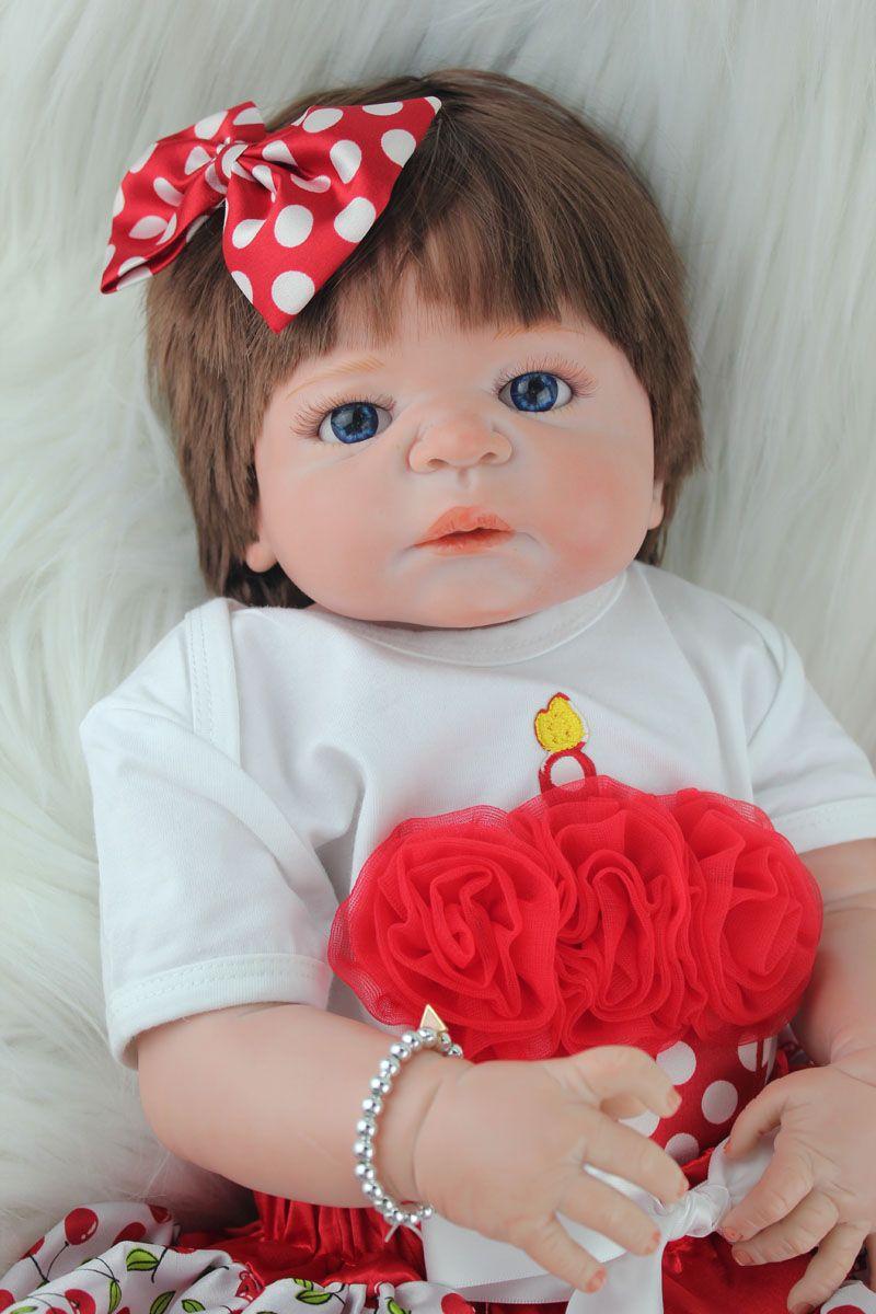 Full Silicone Reborn Baby Girl Doll Toys Realistic 55cm Princess Newborn Babies Dolls Lovely Birthday Gift Present Bathe Toy