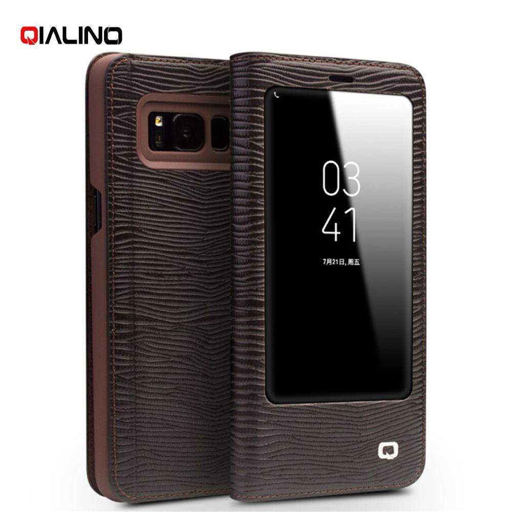 QIALINO luxus für Samsung Galaxy S8 G950 Business Smart View Fenster Eidechse Echtem Rindsleder Leder Fall für Samsung Galaxy S8