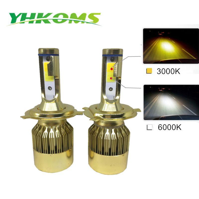 YHKOMS H7 H4 LED Bulbs H1 H3 H8 H11 HB3 HB4 LED Headlight Kit 3000K 6000K 9600LM Dual Color Car LED Light Headlamp 12V
