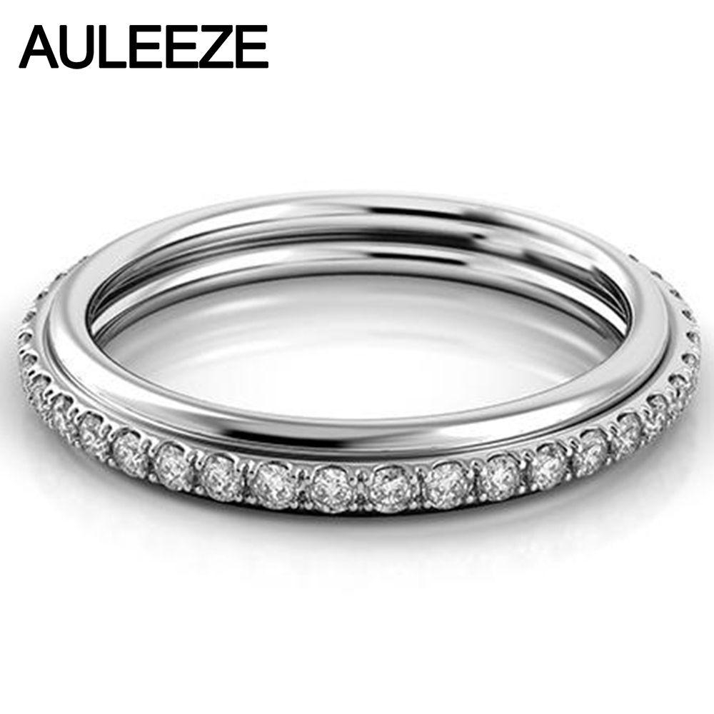 0,29 cttw Echt Diamant-hochzeit Passende Band Solide 14 Karat Weißgold Ewige Hochzeit Verlobungsring Für Frauen 585 Gold edlen Schmuck