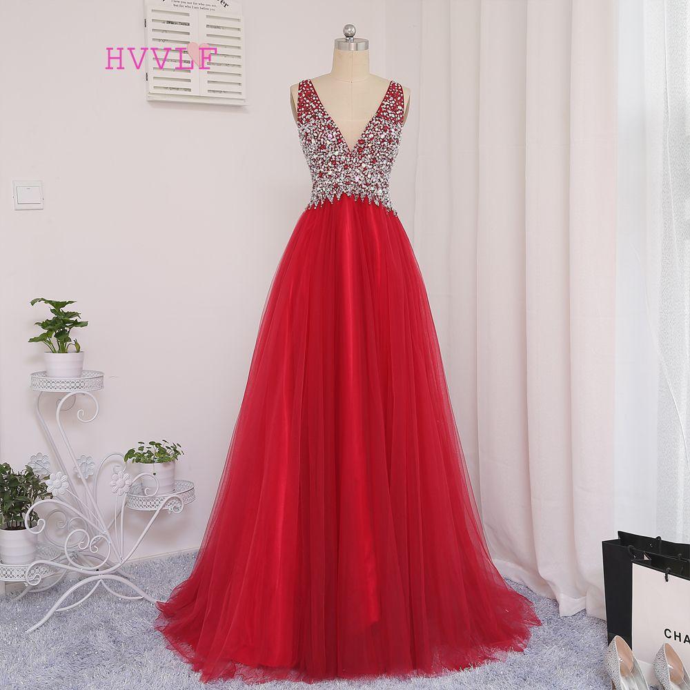 HVVLF Rojo 2018 Vestidos de Baile Una Línea de Profundo Escote en v Cristales Largo Moldeado Backless de Tulle Vestidos de Baile Vestido de Noche Vestido de Noche