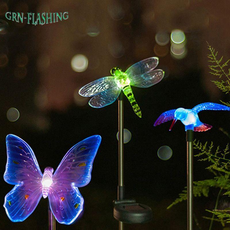 LED solaire de libellule/papillon/oiseau imperméable extérieur de lumière solaire de jardin de LED changeant de couleur pour la lampe de pelouse de chemin de décoration de jardin