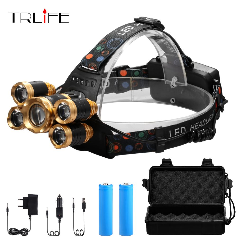 CREE XML 5*T6 Headlight 40000 Lumens 4mode Zoomable Headlamp USB Rechargeable Head Lamp +2*18650 Battery+AC/DC Charger+Free BOX