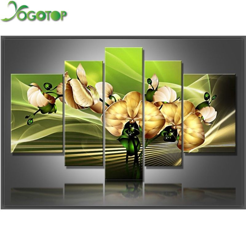 YOGOTOP DIY Diamond Painting Cross Stitch Kits Full Diamond Embroidery 5D Diamond Mosaic Home Decor Magnolia flower 5pcs ML221