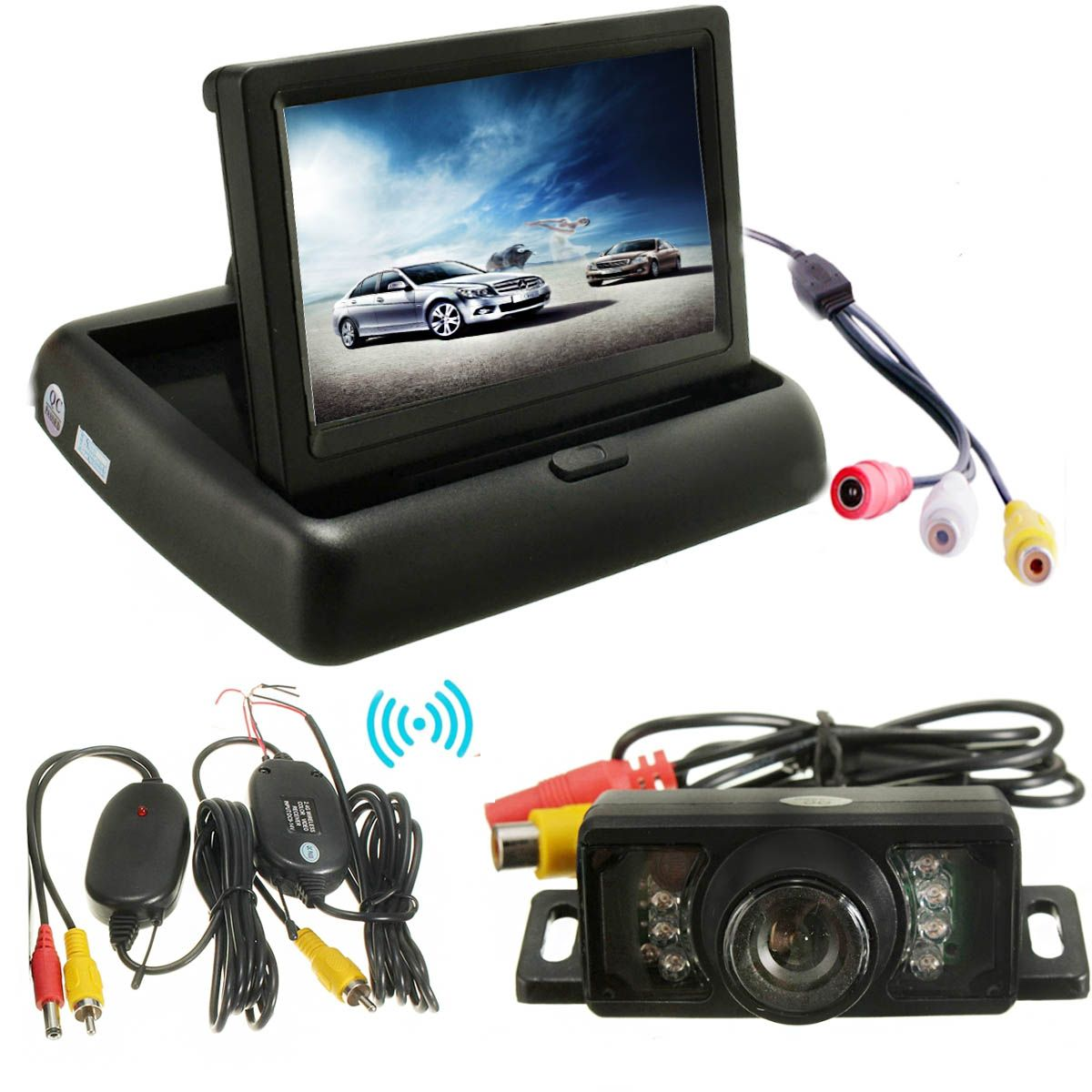 Car Foldable LCD 4.3 Monitor Wireless IR Rearview Parking Reversing Camera Kit 120 Degree Angle Rear View Backup Camera