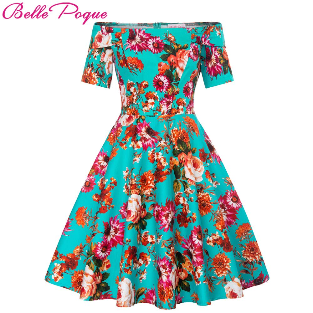 Retro Off Shoulder Party Dresses Women Vintage 50s 60s 2018 Summer Dress Sexy robe Rockabilly Floral Ladies Casual Skater Dress