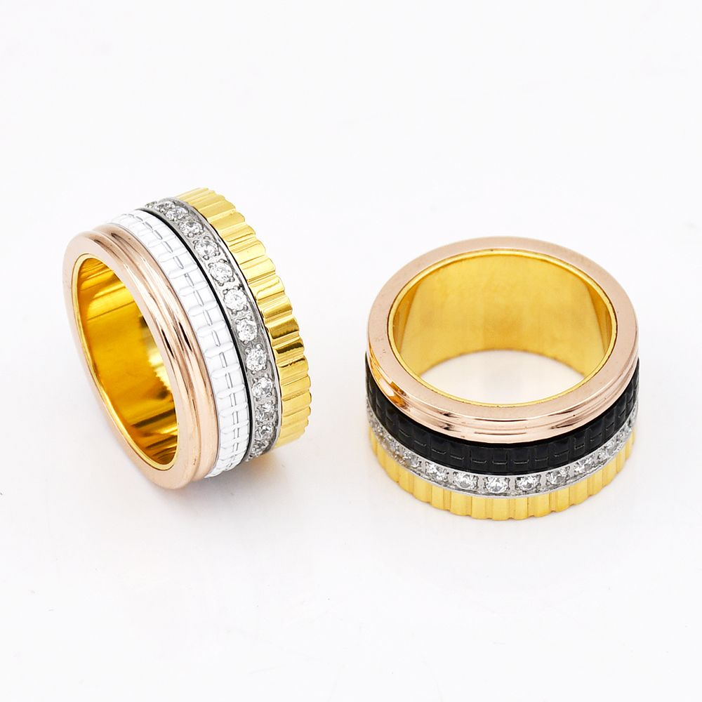 Multi-layer Men Women Wedding Band Crystal Titanium Steel Rings Famous Brand Jewelry Wholesale Turnable Fashion Ceramic Rings