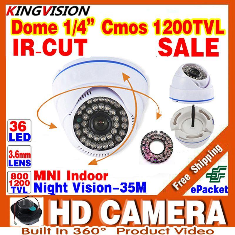 Кольцо HD 1/3 CMOS 1200tvl купольную видеонаблюдения CCTV аналоговый мини Камера 36LED ИК-Ночное видение 30 м домашнее видео