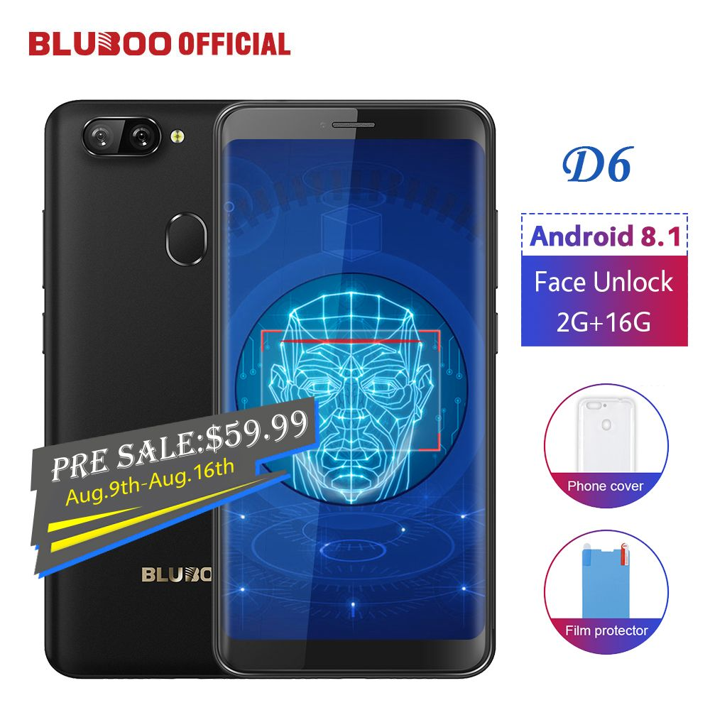 BLUBOO D6 Android 8.1 Smartphone 5.5'' MTK6580 Quad Core 2G RAM 16G ROM Face Unlock Dual Back Cameras 18:9 Mobile Phone