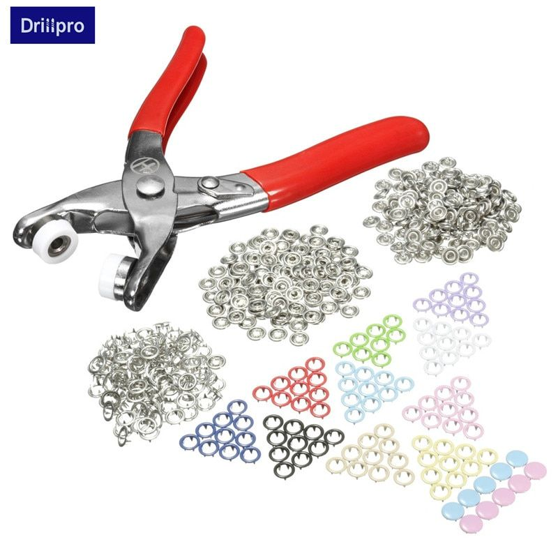 Drillpro Fasterner Snap Pliers Craft Tool+110 Sets Multicolor Press Studs Poppers Silver Buttons Sewing Craft Snap 9.5mm