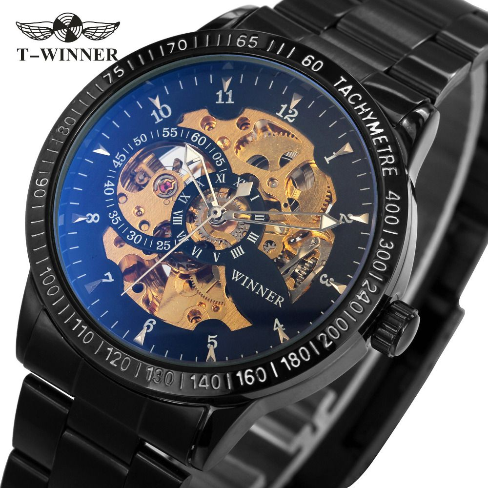 2018 WINNER Men Automatic Mechanical Watch Stainless Steel Watchband Men Wristwatch <font><b>Golden</b></font> Skeleton Dial Top Luxury Brand +BOX